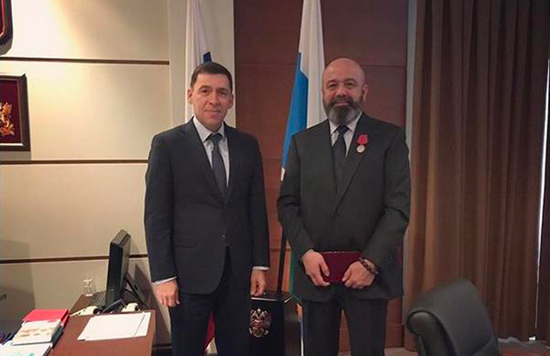 "Iskander Makhmudov receives the medal of The Order ""For Merit to the Fatherland"" second class"